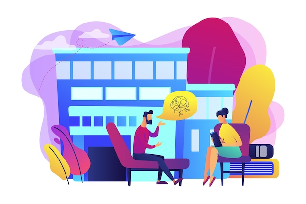 Male patient on coach at psychology consultation talking to psychologist. psychologist service, private counseling, family psychology concept. bright vibrant violet  isolated illustration