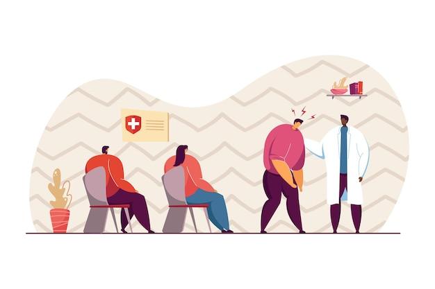 Пациент мужского пола с головной болью идет к врачу. пациенты ждут своей очереди к врачу в плоской векторной иллюстрации зала. больница, концепция лечения для баннера, дизайна веб-сайта или целевой веб-страницы