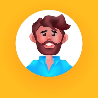 Голова мужчины в круглой рамке милый мужчина аватар мультипликационный персонаж портрет векторная иллюстрация