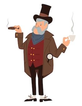 남성 인물은 시가를 피우고 뜨거운 커피를 마십니다. 과거의 마피아 또는 갱스터. 사건에 대해 생각하는 형사 또는 검사관. 빈티지와 구식 캐릭터, 플랫 스타일의 벡터