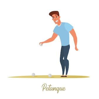 모래에 금속 공을 들고 남성 페탕크 선수