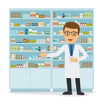 Male pharmacist in a pharmacy