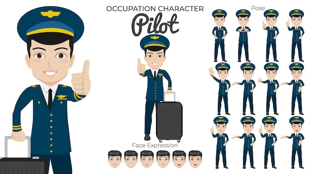 さまざまなポーズと顔の表情を持つ男性パイロットキャラクターセット