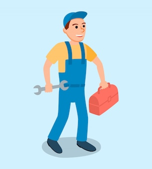 Male plumber in uniform with wrench tool vector