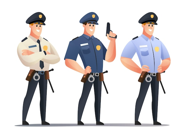 남성 경찰관 캐릭터 세트