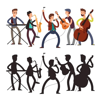 Male pop music band playing music. vector illustration of cartoon character and silhouette