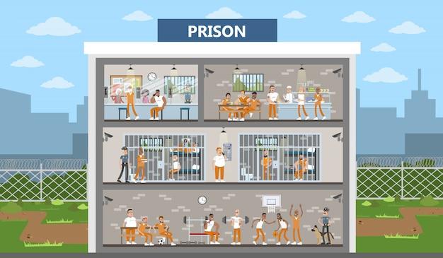 囚人や警察官がいる男性の刑務所内部の都市の建物。