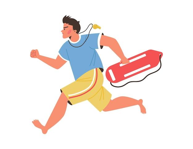 男性のプロのライフガードは、応急処置を提供したり、人々の命を救ったりするために走ります