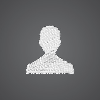 Male profile sketch logo doodle icon isolated on dark background