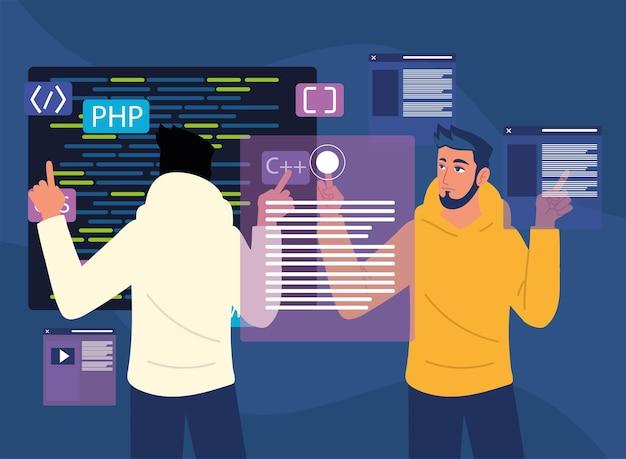 개발 웹 사이트가있는 남성 프로그래머