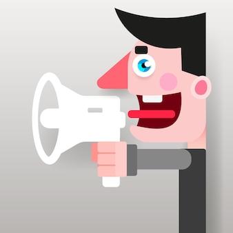 Мужской промоутер с мегафоном в руках агитирующего политика. векторный логотип