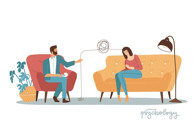 행동 정신에 대한 여성 환자를 치료하는 남성 정신과 의사 컨설팅 개념 의료 개업 ...