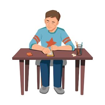 테이블에 앉아 스마트 폰 검색 남성 눈동자는 현대 가제트와 어린 소년을 격리