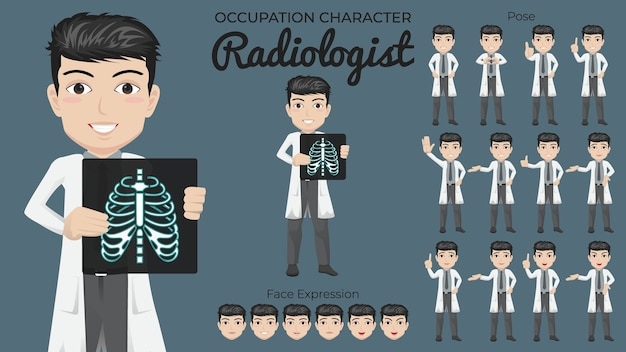 さまざまなポーズと顔の表情を持つ男性の放射線科医の文字セット