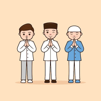 Male ramadhan character illustration thanking, greeting, apologize, farewell pose with respect by using two hand palms splice together