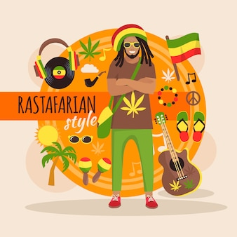 Male rastafarian character pack with stylish accessory and objects
