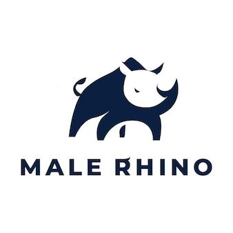 Мужской носорог маскот чистый дизайн логотипа вдохновение