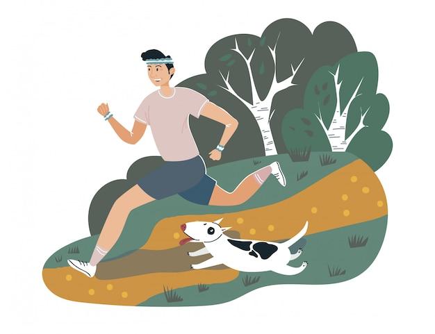 男性ランナースポーツマンの屋外公園の犬の散歩、活動スポーツ運動トレーニングスタミナホワイト、イラスト。