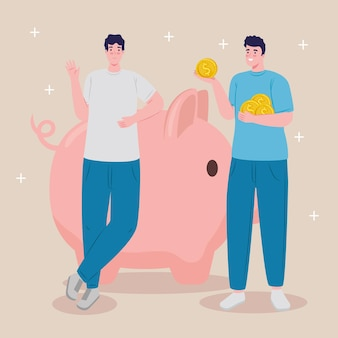 Male savers with piggy savings and coins dollars vector illustration design