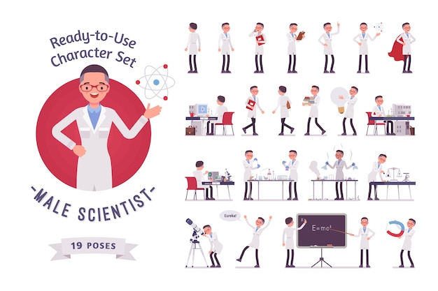 男性科学者のキャラクター作成セット