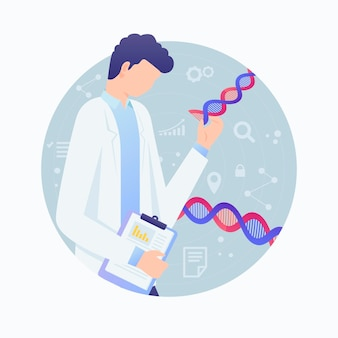 Male scientist holding dna molecules