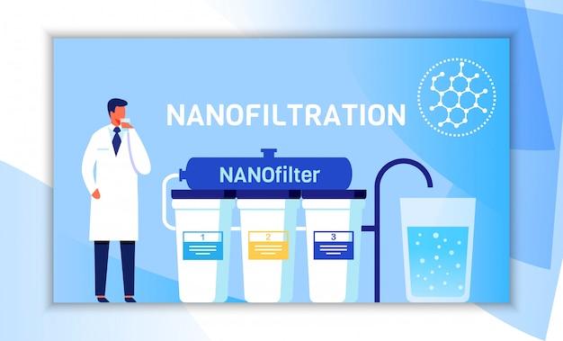 나노 여과 시스템을 제시하는 남성 과학자