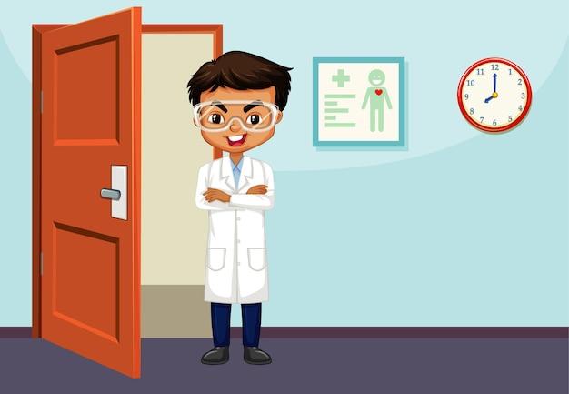 部屋に立っている男性の科学者