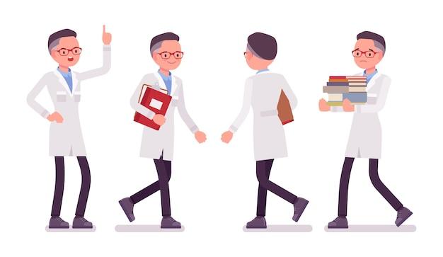 Male scientist walking