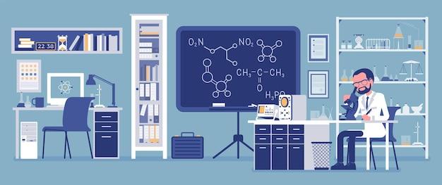 Ученый-мужчина, работающий в лаборатории. человек в белом халате, научный сотрудник, проводящий исследования в области физических и естественных наук. концепция образования и науки. векторная иллюстрация, безликие персонажи