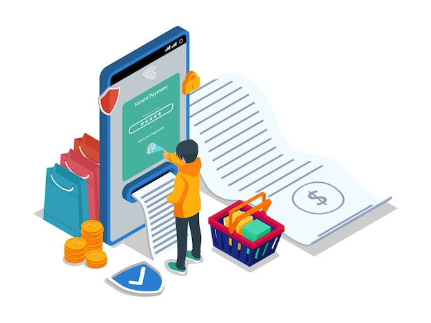 Male do secure payment with fingerprint scanner in mobile phone. isometric e-commerce illustration concept with male character.