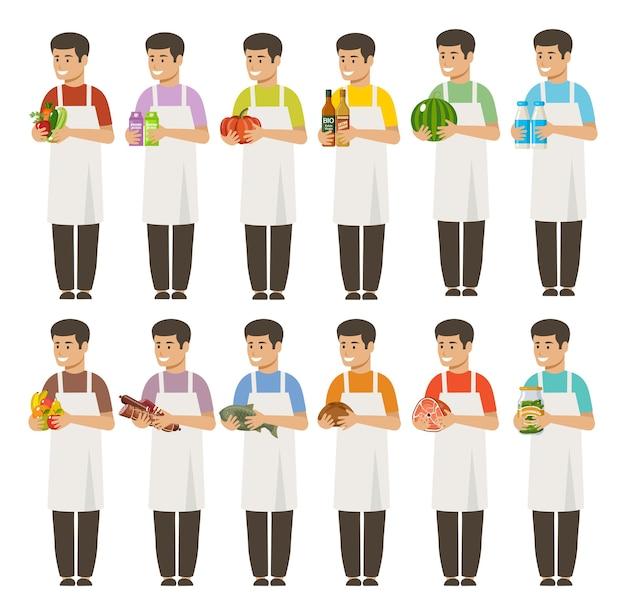 Продавцы-мужчины держат продукты в руках