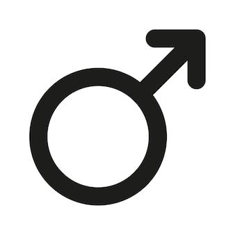 남성 섹스 심볼 아이콘입니다. 성별 기호 간단한 실루엣입니다. 블랙 아이콘 흰색 배경에 고립입니다. 벡터 일러스트 레이 션.