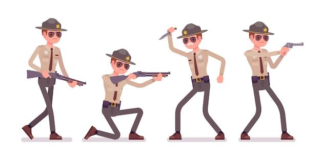 男性保安官と武器