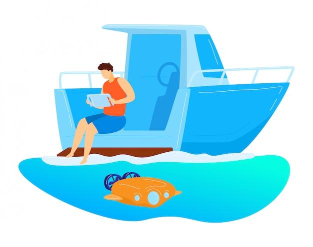 男性の座っているヨット、リモートコントロール水中ドローン、白、漫画イラストで隔離文字男性研究海底。