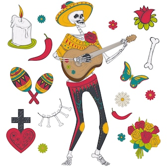 Male skeleton in yellow sombrero and in mexican national clothes plays guitar