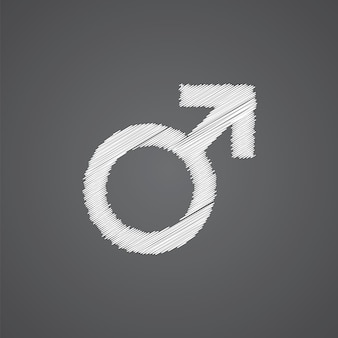 Male sketch logo doodle icon isolated on dark background