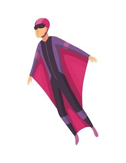 スポーツ用品を持って飛んでいる男性のスカイダイバー。スカイダイビングのエクストリームスポーツ。白地にパラグライダージャンプキャラクター。アクティブな趣味のスポーツマンがジャンプします。