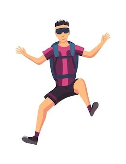 スポーツ用品を持って飛んでいる男性のスカイダイバー。スカイダイビングのエクストリームスポーツ。白地にパラグライダージャンプキャラクター。アクティブな趣味のスポーツマンジャンプ