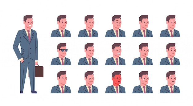 Male smiling emotion icons set isolated avatar man facial expression concept face collection