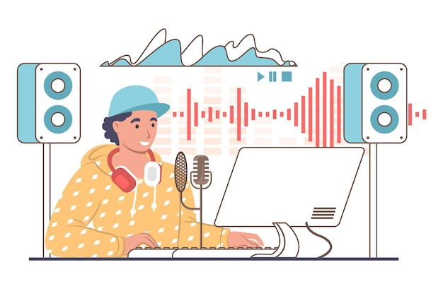 스튜디오에서 사운드 트랙을 만드는 남성 사운드 디자이너 또는 엔지니어, 평면 벡터 일러스트레이션. 전문 음악 제작 장비.