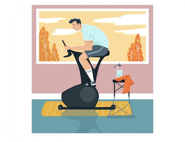 Male sportsman activity exercise bike, man character training stationary bicycle home  on white,   illustration.