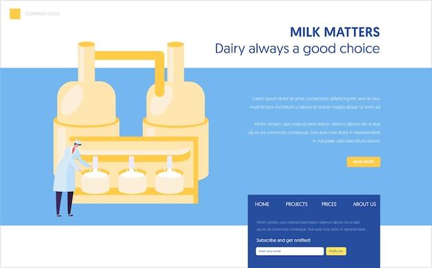 균일 한보 기 우유 저온 살균 프로세스 랜딩 페이지의 남성 직원 캐릭터. 치즈 식품 생산 산업 개념. 공장 라인 웹 사이트 또는 웹 페이지. 플랫 만화 벡터 일러스트 레이션