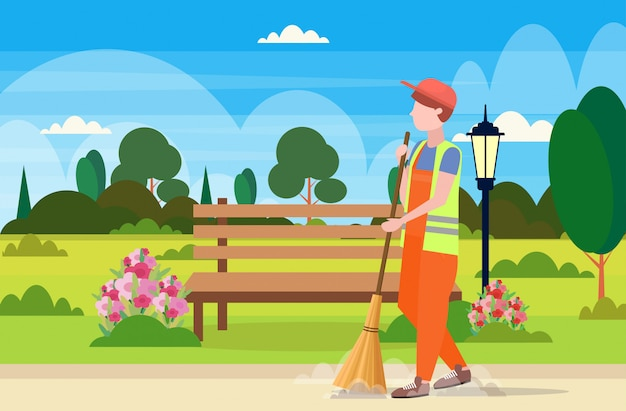 Male street cleaner holding broom man sweeping garbage cleaning service concept urban park landscape background full length flat horizontal