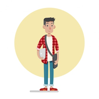 Male student character illustration