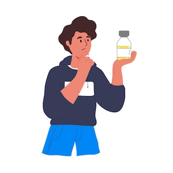 A male student is holding a vaccine vial. do i need the vaccine, contraindications, different types of vaccines. comparisons of different vaccines from covid-19.