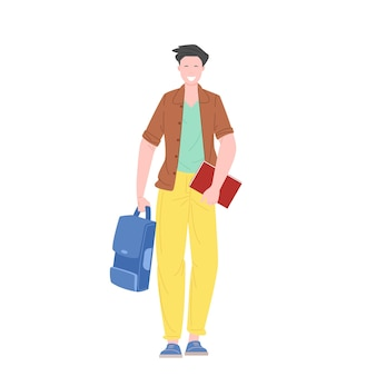 Студент или школьник гуляют, держа книги и рюкзак плоские векторные иллюстрации.