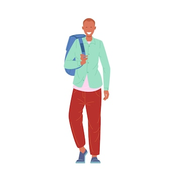 Male student or schoolboy walking with backpack flat vector illustration.