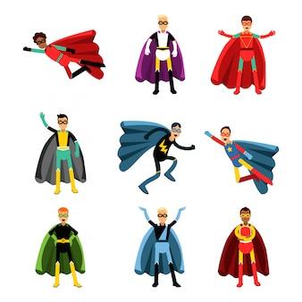カラフルな異なる衣装セットの男性のスーパーヒーロー