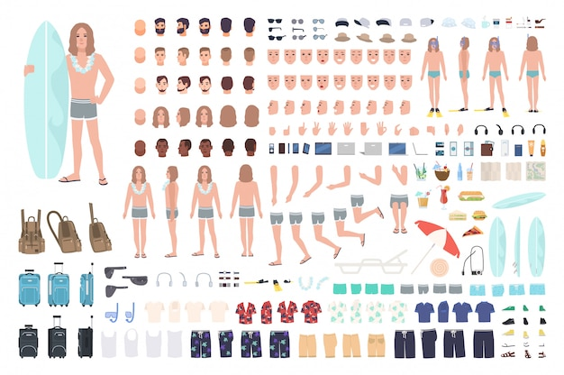 Male surfer or man on vacation creation set or diy kit.