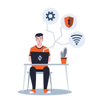 サーバーの保守または修復にラップトップで作業している男性のシステム管理者。ネットワーク接続の修復と調整作業。技術エンジニアはシステムのメンテナンスに取り組んでいます。